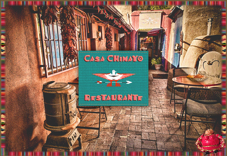 The patio at Casa Chimayo New Mexican Restaurant, Santa Fe, NM. Chile Ristras decorate the adobe walls of this historic Santa Fe adobe, with brick floors and woodstove. Diners enjoy their authentic Northern New Mexican dishes, Sangria margaritas and fine house specialties here 3 seasons.